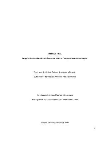 1 INFORME FINAL Proyecto de Consolidado de Información sobre ...