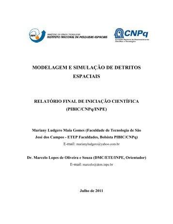 modelagem e simulação de detritos espaciais - mtc-m19:80 - Inpe