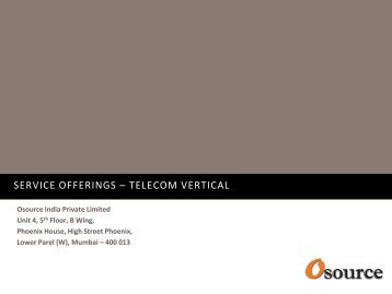 SERVICE OFFERINGS – TELECOM VERTICAL - Osource India