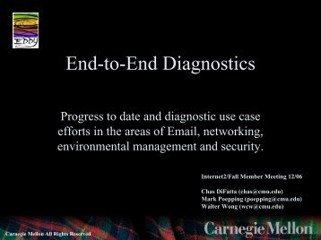 End-to-end Diagnostics - Internet2 Middleware Initiative