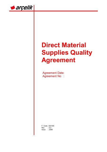 Direct Material Supplies Quality Agreement Arelik