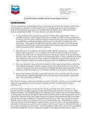 Texaco Petroleum, Ecuador and the Lawsuit Against Chevron