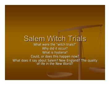 Salem Witch Trials - Oregon School District