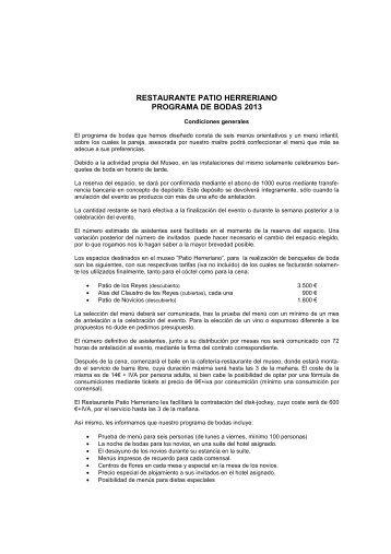PROGRAMA DE BODAS 2013