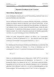 Allgemeine Grundlagen zu den Versuchen Molrefraktion ...