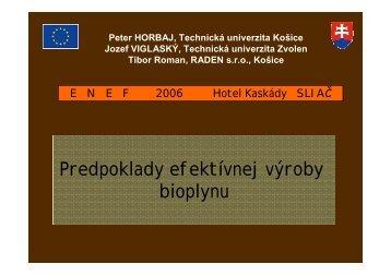 Návrh bioplynovej stanice - ENEF 2012