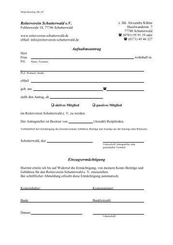 Reiterverein Schutterwald e.V. Aufnahmeantrag Einzugsermächtigung