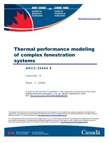 Thermal performance modeling of complex fenestration systems