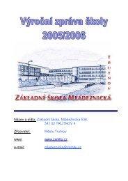 Výroční zpráva 2005/06 - ZŠ Mládežnická