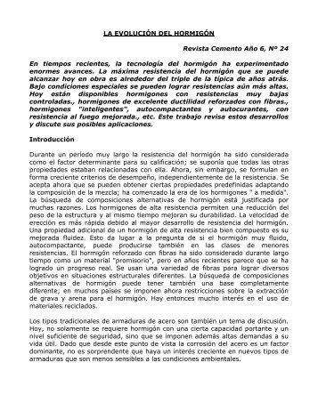 LA EVOLUCIÓN DEL HORMIGÓN Revista Cemento Año 6 ... - ICPA