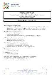 Programme - Saint-Louis Réseau Sein
