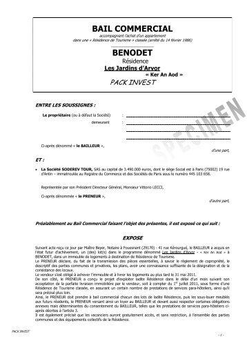 BAIL COMMERCIAL BENODET - Cn2i.fr