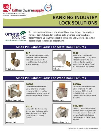 BANKING INDUSTRY LOCK SOLUTIONS - KDL Hardware Supply