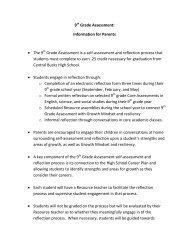 Information for Parents - 9th Grade Assessment - Central Bucks ...