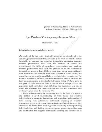 ayn rand and todays business ethics essay Upload a copy of this paper check publisher's policy papers currently archived 1992 - journal of business ethics 11 ayn rand's normative ethics.