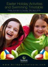 Easter Holiday Activities and Swimming Timetable - Bridport Leisure