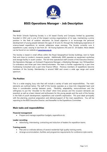 Safsf Operations Manager Job Description Final