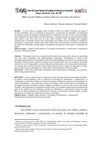 TICs e gestão pública em planos diretores de cidades ... - Eptic
