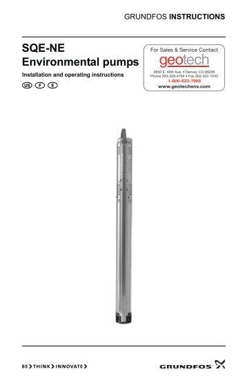 Grundfos SQE-NE Environmental Pumps Installation and Operating ...