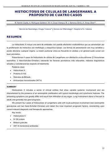 HISTIOCITOSIS DE CELULAS DE LANGERHANS. A ... - Neumosur