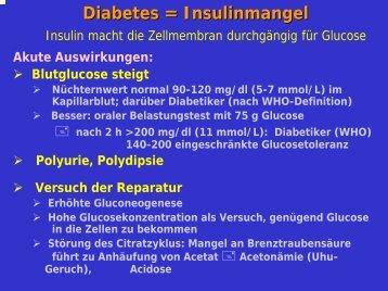 Diabetes = Insulinmangel