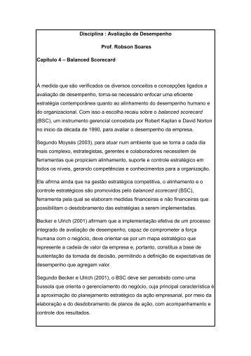 Disciplina : Avaliação de Desempenho Prof. Robson Soares ...