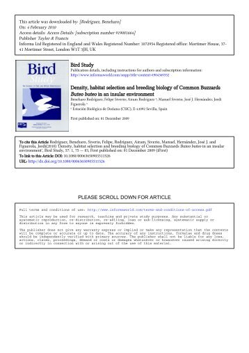 Bird Study Density, habitat selection and breeding biology of ...