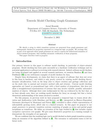 Towerds Model Checking Graph Grammars - CiteSeerX