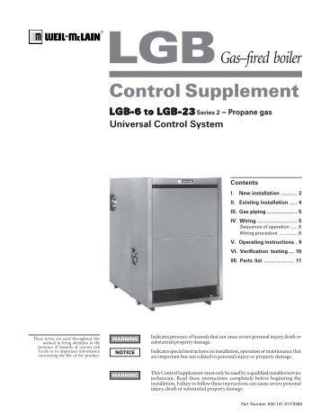 Gas–fired boiler Control Supplement - Weil-McLain