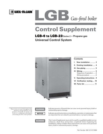 LGB 5 CSD-1 Natural Gas Control Supplement - Weil-McLain