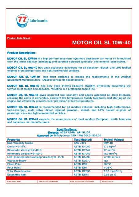 4206 MOTOR OIL SL 10W-40 - 77 Lubricants