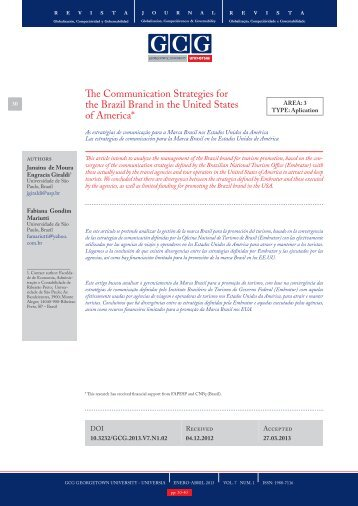 The Communication Strategies for the Brazil Brand in the ... - Universia