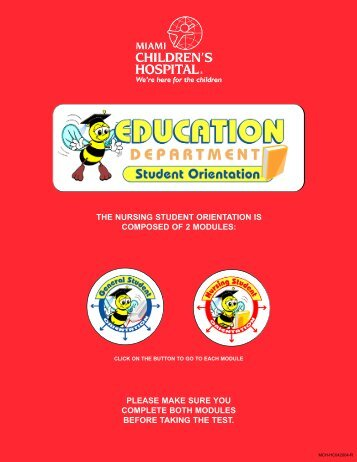 the nursing student orientation is composed of 2 modules - Miami ...