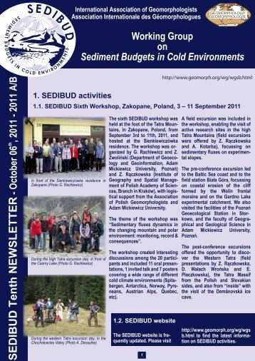 The SEDIBUD Tenth Newsletter 2011 - International Association of ...