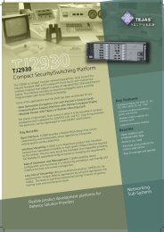 Compact, Open Architecture, Security and ... - Tejas Networks