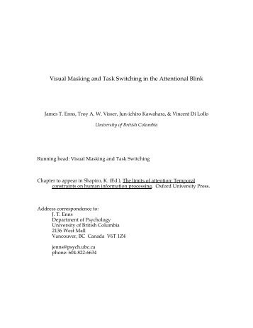 Visual Masking and Task Switching in the Attentional Blink