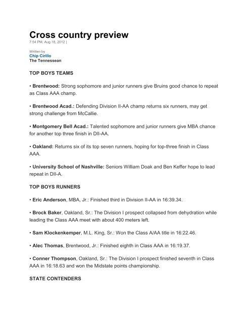 Tennessean Cross Country Preview - Siegel High School