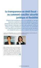La transparence en droit fiscal – ou comment concilier sécurité ...