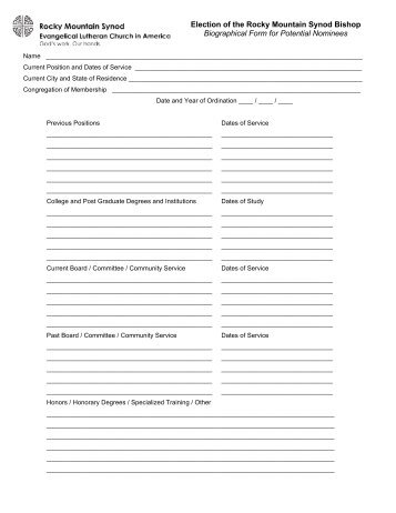 Class Biographical Form Freepages
