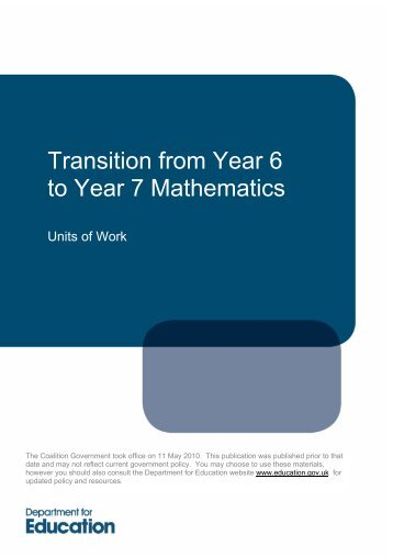 Transition from Year 6 to Year 7 Mathematics