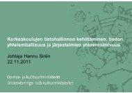 Korkeakoulujen tietohallinnon kehittäminen: tiedon yhteismitallisuus ...