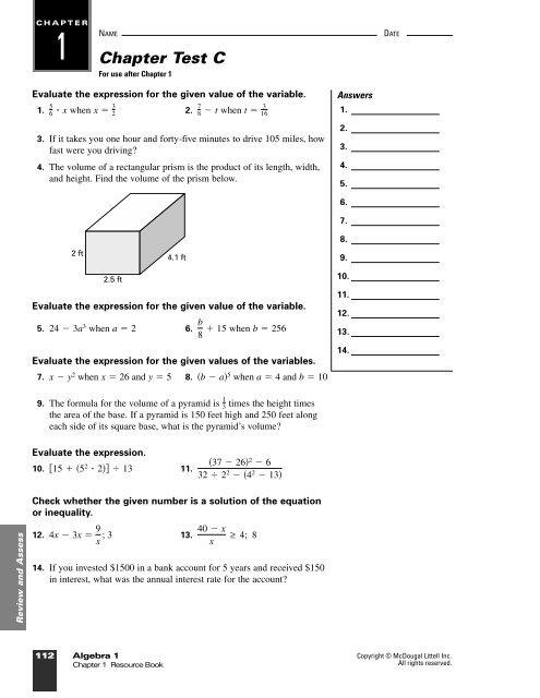 Ch  1 Test Review C - NOHS Teachers