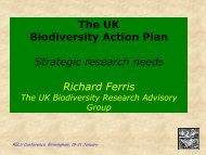 The UK Biodiversity Action Plan - Strategic research need