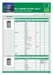 New MANN-FILTER types 01/2005 (PDF, 156 - Mann & Hummel
