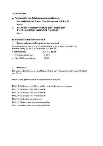 Fachspezifischer Anhang zur Mathematik (Studienbeginn ab SS 2012)