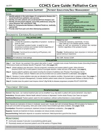 Palliative Care - California Correctional Health Care Services