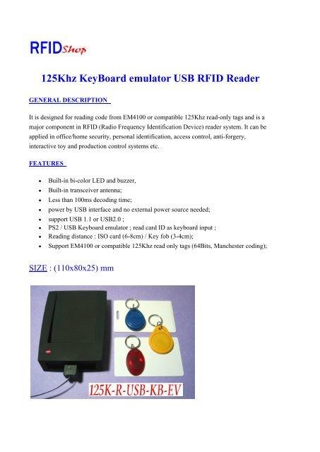 125Khz KeyBoard emulator USB RFID Reader - RFID Shop
