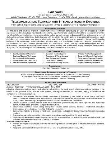 Telecommunications Technician   Front Runner Resume Writing  Telecommunications Resume