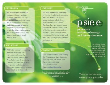 PSIEE Brochure - Penn State Institutes of Energy and the Environment