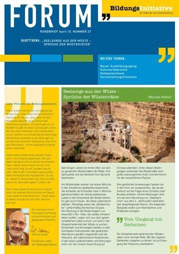 BI-Forum, Nr. 27, April 2010 - Die Bildungsinitiative